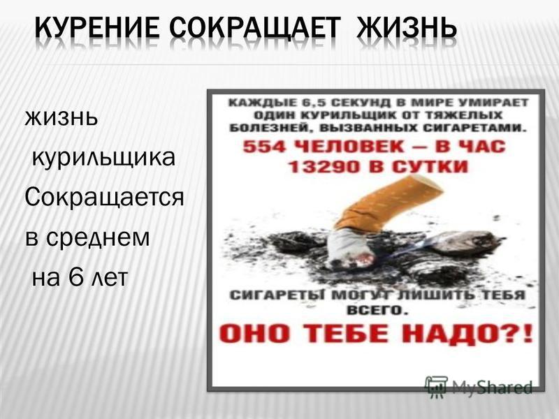 жизнь курильщика Сокращается в среднем на 6 лет