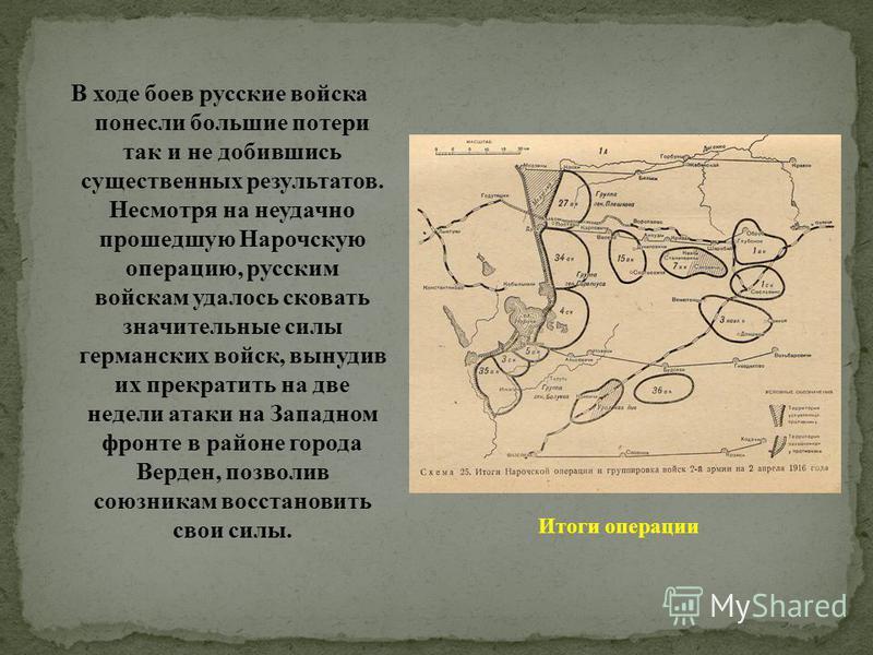 В ходе боев русские войска понесли большие потери так и не добившись существенных результатов. Несмотря на неудачно прошедшую Нарочскую операцию, русским войскам удалось сковать значительные силы германских войск, вынудив их прекратить на две недели