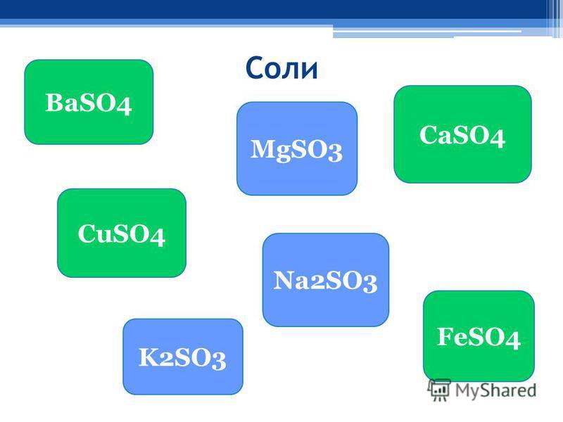 Соли BaSO4 CuSO4 MgSO3 CaSO4 Na2SO3 K2SO3 FeSO4