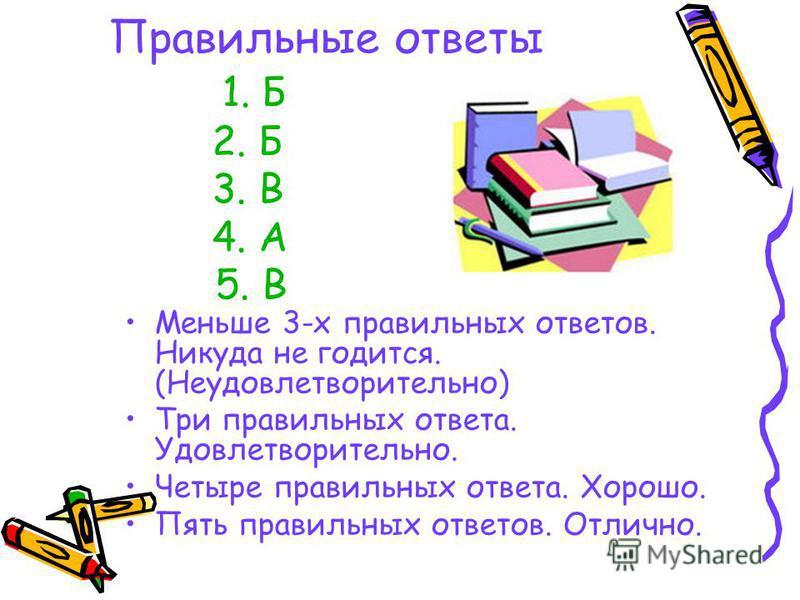 Правильние ответы 1. Б 2. Б 3. В 4. А 5. В Меньше 3-х правильных ответов. Никуда не годится. (Неудовлетворительно) Три правильных ответа. Удовлетворительно. Четыре правильных ответа. Хорошо. Пять правильных ответов. Отлично.
