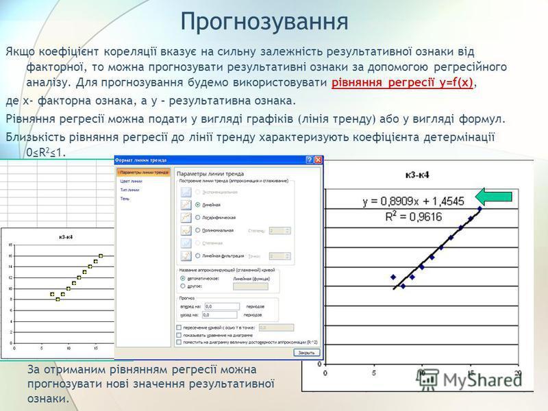Прогнозування Якщо коефіцієнт кореляції вказує на сильну залежність результативної ознаки від факторної, то можна прогнозувати результативні ознаки за допомогою регресійного аналізу. Для прогнозування будемо використовувати рівняння регресії y=f(x),