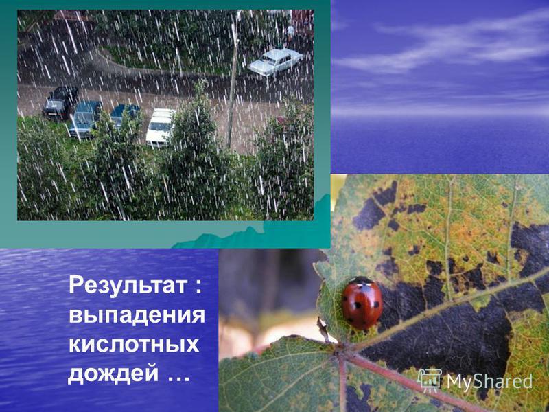 Результат : выпадения кислотных дождей …
