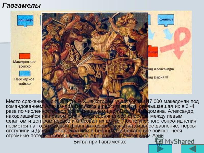 Гавгамелы Место сражения 1 окт. 331 до Р. X., в котором участвовали 47 000 македонян под командованием Александра Великого и персид. армия, превышавшая их в 3 -4 раза по численности, под командованием царя Дария III Кодомана. Александр, находившийся