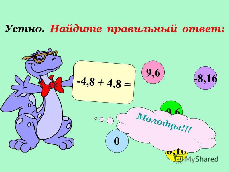 11 Устно. Найдите правильный ответ: -4,8 + 4,8 = 9,6 -9,6 8,16 0 -8,16 Молодцы!!!
