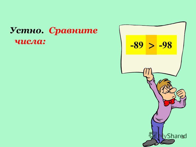 9 Устно. Сравните чизла: -45 и -22 < 6 и 38 < -19 и -20,8 > -128 и -13 < 54 и -36 > -89 и -98 >