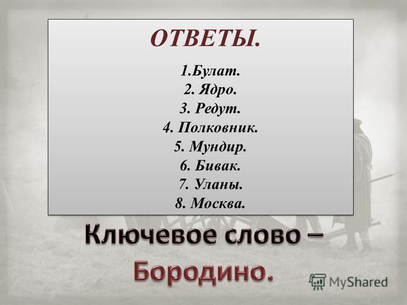 1.Булат. 2. Ядро. 3. Редут. 4. Полковник. 5. Мундир. 6. Бивак. 7. Уланы. 8. Москва. 1.Булат. 2. Ядро. 3. Редут. 4. Полковник. 5. Мундир. 6. Бивак. 7. Уланы. 8. Москва. ОТВЕТЫ.