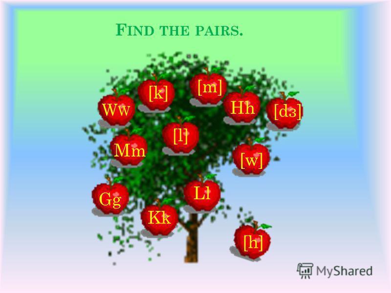 F IND THE PAIRS. W Mm Gg Kk Ll Hh [k] [l] [w] [dз] [m] [h]