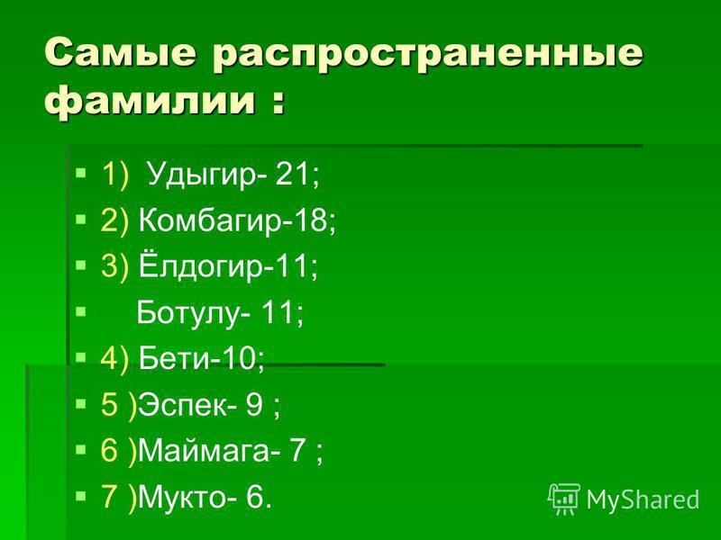Самые распространенные фамилии : 1) Удыгир- 21; 2) Комбагир-18; 3) Ёлдогир-11; Ботулу- 11; 4) Бети-10; 5 )Эспек- 9 ; 6 )Маймага- 7 ; 7 )Мукто- 6.