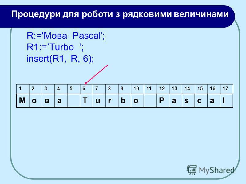 МоваTurboPascal 1234567891011121314151617 R:='Moва Pascal'; R1:=Turbo ; insert(R1, R, 6); Процедури для роботи з рядковими величинами