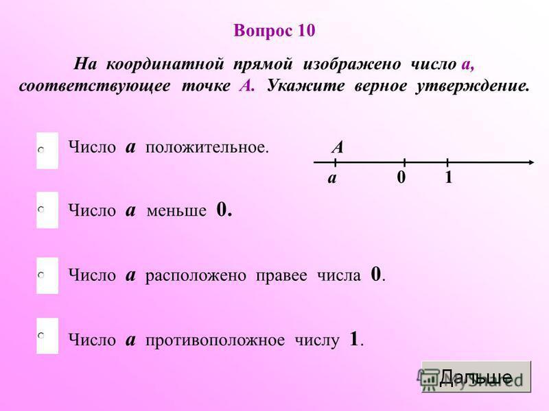 Вопрос 10 На координатной прямой изображено число а, соответствующее точке А. Укажите верное утверждение. Число а меньше 0. Число а расположено правее числа 0. Число а противоположное числу 1. Число а положительное. А а 10