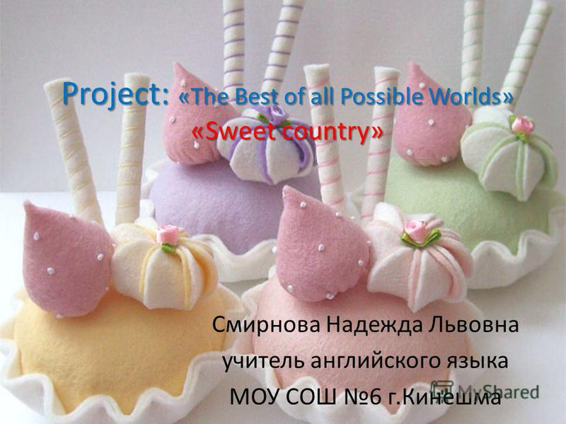 Project: «The Best of all Possible Worlds» «Sweet country» Смирнова Надежда Львовна учитель английского языка МОУ СОШ 6 г.Кинешма