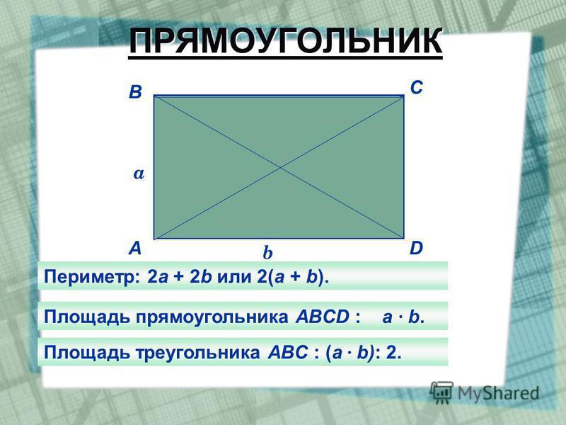 A B C D a b Периметр: 2 а + 2b или 2(а + b). Площадь прямоугольника АBCD : а · b. Площадь треугольника ABC : (а · b): 2. ПРЯМОУГОЛЬНИК