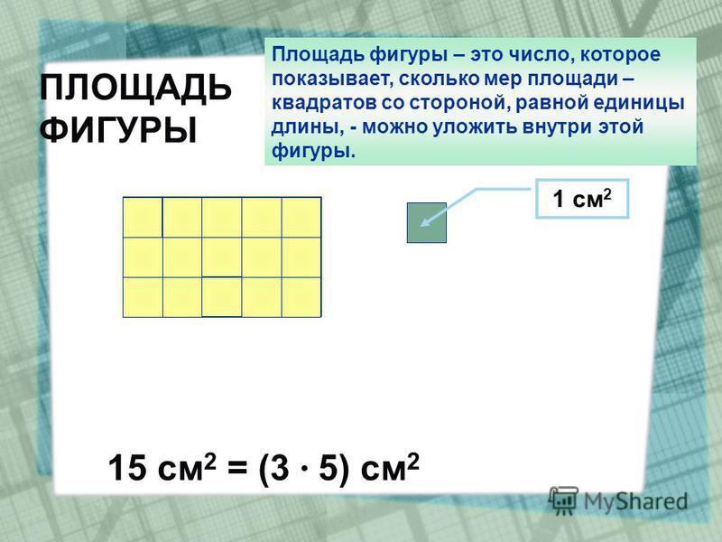 1 см 2 ПЛОЩАДЬ ФИГУРЫ 15 см 2 = (3 · 5) см 2 Площадь фигуры – это число, которое показывает, сколько мер площади – квадратов со стороной, равной единицы длины, - можно уложить внутри этой фигуры.