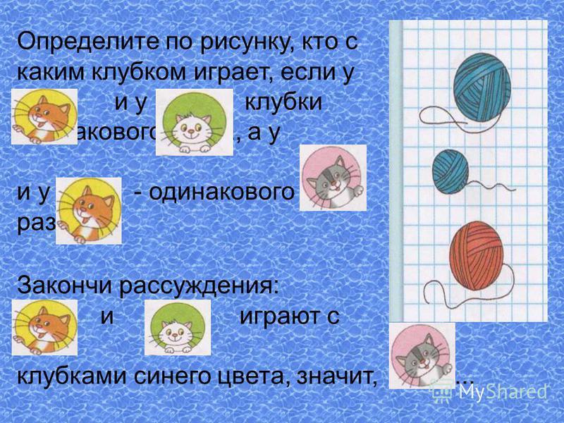 Определите по рисунку, кто с каким клубком играет, если у и у клубки одинакового цвета, а у и у - одинакового размера. Закончи рассуждения: и играют с клубками синего цвета, значит,...