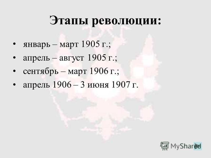 Этапы революции: январь – март 1905 г.; апрель – август 1905 г.; сентябрь – март 1906 г.; апрель 1906 – 3 июня 1907 г.
