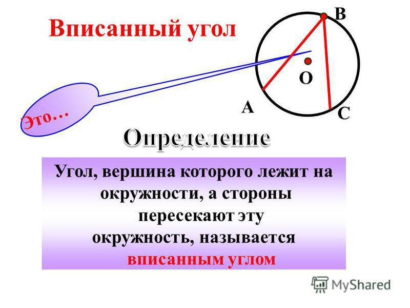 Угол, вершина которого лежит на окружности, а стороны пересекают эту окружность, называется вписанным углом Это… Вписанный угол С B O A