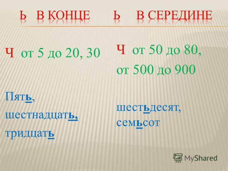 Ч от 5 до 20, 30 Пять, шестнадцать, тридцать Ч от 50 до 80, от 500 до 900 шестьдесят, семьсот