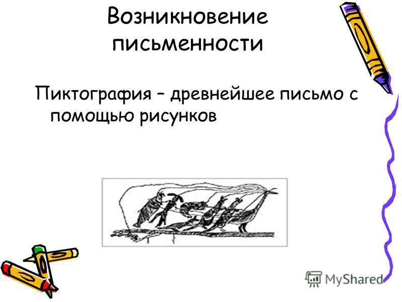 Возникновение письменности Пиктография – древнейшее письмо с помощью рисунков