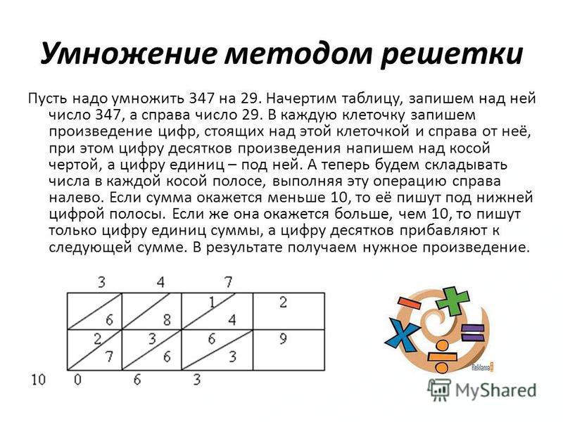 Умножение методом решетки Пусть надо умножить 347 на 29. Начертим таблицу, запишем над ней число 347, а справа число 29. В каждую клеточку запишем произведение цифр, стоящих над этой клеточкой и справа от неё, при этом цифру десятков произведения нап