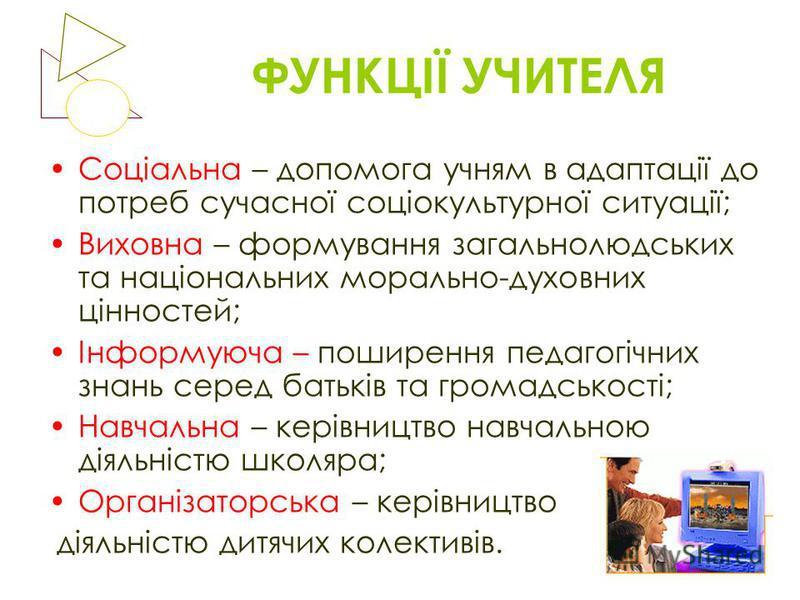ФУНКЦІЇ УЧИТЕЛЯ Соціальна – допомога учням в адаптації до потреб сучасної соціокультурної ситуації; Виховна – формування загальнолюдських та національних морально-духовних цінностей; Інформуюча – поширення педагогічних знань серед батьків та громадсь