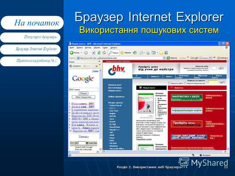 Браузер Internet Explorer Практична робота 1 Популярні браузери На початок Розділ 2. Використання веб-браузера 11 Браузер Internet Explorer Використання пошукових систем