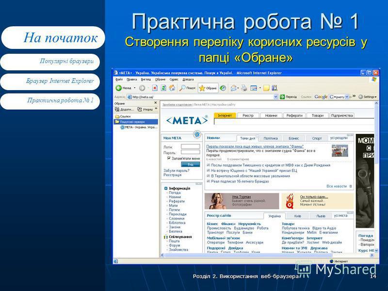 Браузер Internet Explorer Практична робота 1 Популярні браузери На початок Розділ 2. Використання веб-браузера 14 Практична робота 1 Створення переліку корисних ресурсів у папці «Обране»