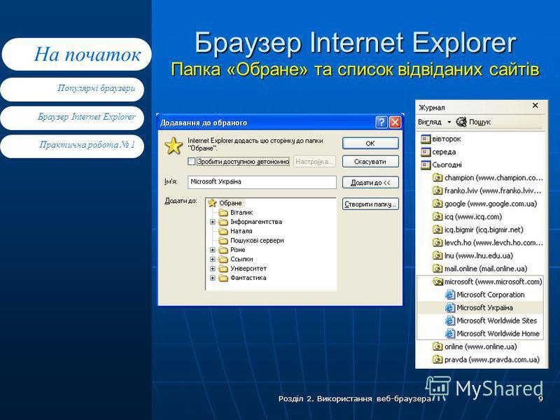 Браузер Internet Explorer Практична робота 1 Популярні браузери На початок Розділ 2. Використання веб-браузера 9 Браузер Internet Explorer Папка «Обране» та список відвіданих сайтів