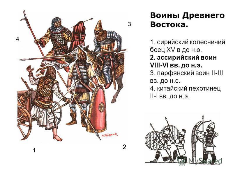 Воины Древнего Востока. 1. сирийский колесничий боец XV в до н.э. 2. ассирийский воин VIII-VI вв. до н.э. 3. парфянский воин II-III вв. до н.э. 4. китайский пехотинец II-I вв. до н.э. 1 2 4 3
