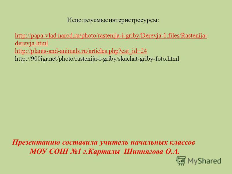 Используемые интернет ресурсы: http://papa-vlad.narod.ru/photo/rastenija-i-griby/Derevja-1.files/Rastenija- derevja.html http://plants-and-animals.ru/articles.php?cat_id=24 http://900igr.net/photo/rastenija-i-griby/skachat-griby-foto.html Презентацию