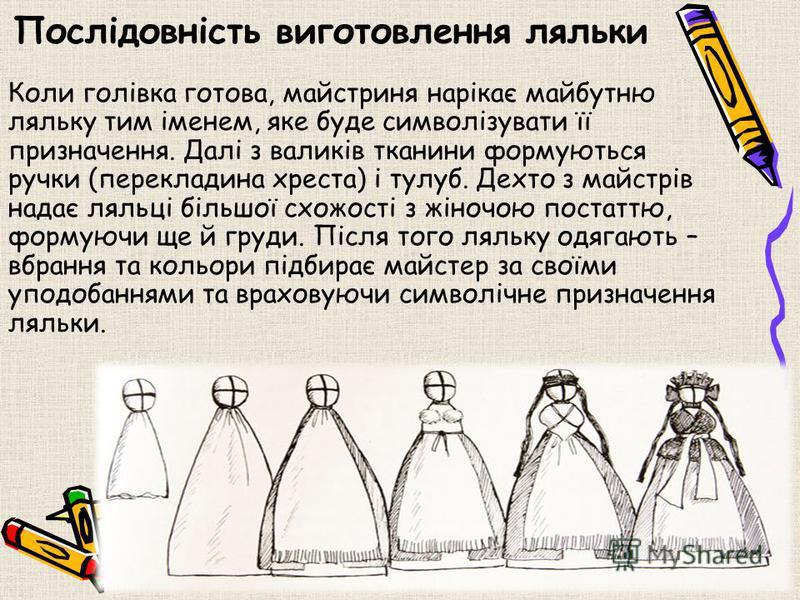 Одяг Лялька одягнена у світлу вишиту сорочечку, підюпник (або нижня спідничка т.з. галька) і запаску. Всі елементи одягу є оберегами: спідниця символізує землю, сорочка позначає три часи – минулий, теперішній і майбутній; обовязковими атрибутами є ви