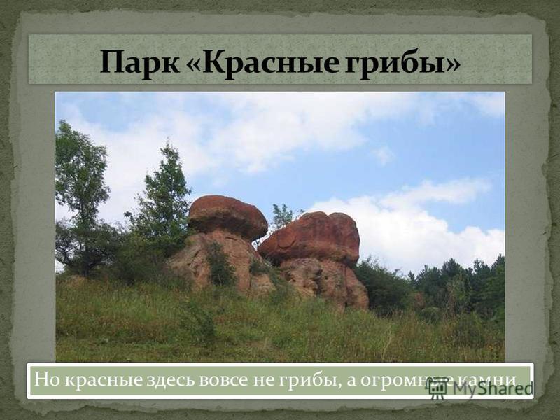 Но красные здесь вовсе не грибы, а огромные камни.