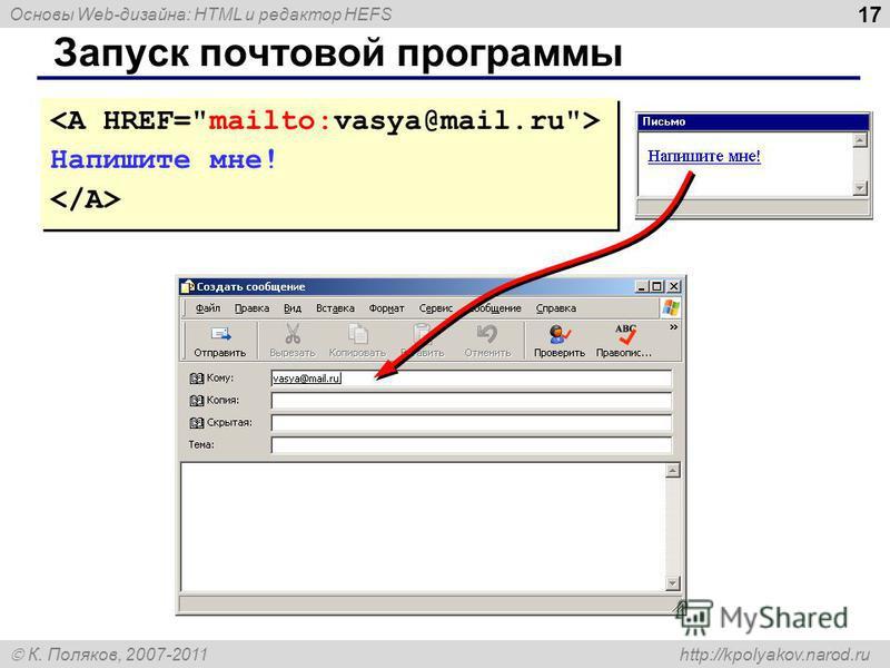 Основы Web-дизайна: HTML и редактор HEFS К. Поляков, 2007-2011 http://kpolyakov.narod.ru 17 Запуск почтовой программы Напишите мне! Напишите мне!
