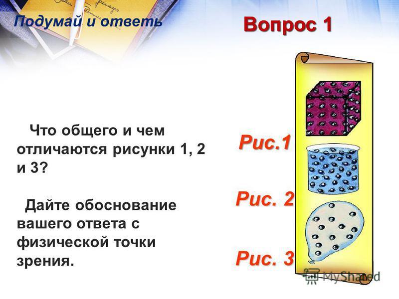 Вопрос 1 Рис. 3 Рис. 2 Рис.1 Что общего и чем отличаются рисунки 1, 2 и 3? Дайте обоснование вашего ответа с физической точки зрения. Подумай и ответь Вопрос 1