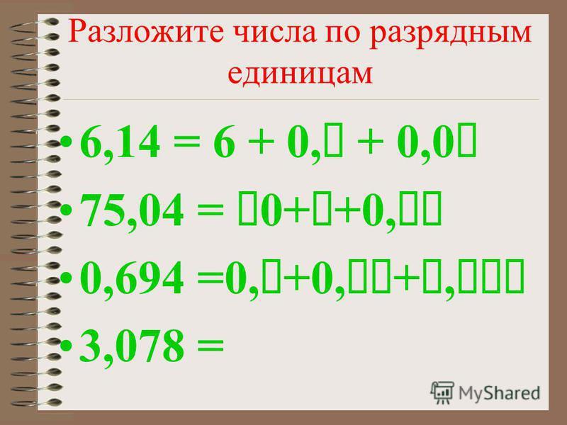 Разложите числа по разрядным единицам 6,14 = 6 + 0, + 0,0 75,04 = 0++0, 0,694 =0,+0,+, 3,078 =