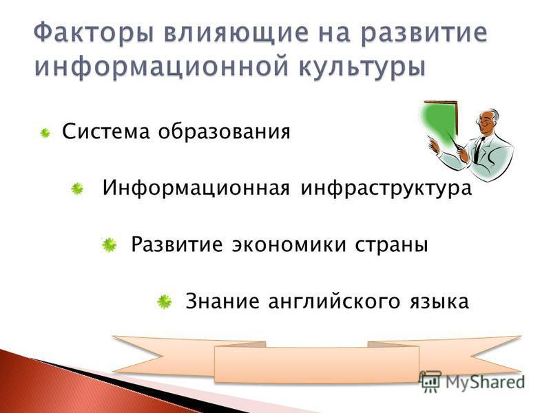 Система образования Информационная инфраструктура Развитие экономики страны Знание английского языка