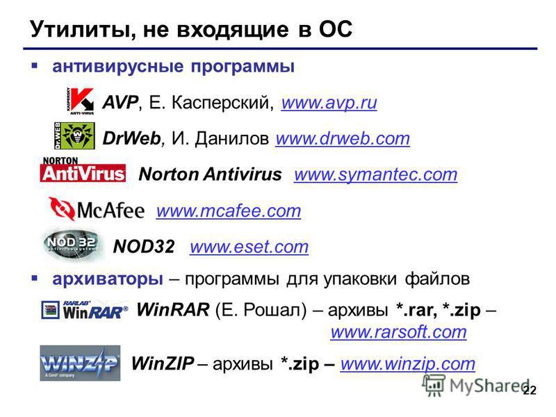 22 Утилиты, не входящие в ОС антивирусные программы AVP, Е. Касперский, www.avp.ruwww.avp.ru DrWeb, И. Данилов www.drweb.comwww.drweb.com Norton Antivirus www.symantec.comwww.symantec.com www.mcafee.com NOD32 www.eset.comwww.eset.com архиваторы – про