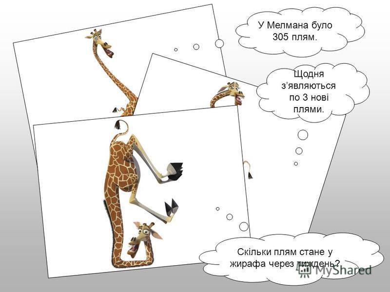 У Мелмана було 305 плям. Щодня зявляються по 3 нові плями. Скільки плям стане у жирафа через тиждень?