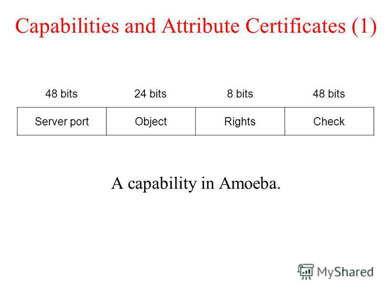 Capabilities and Attribute Certificates (1) A capability in Amoeba. 48 bits24 bits8 bits48 bits Server portObjectRightsCheck