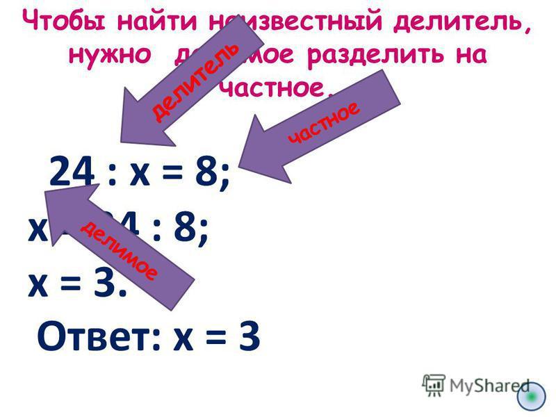 Чтобы найти неизвестный делитель, нужно делимое разделить на частное. 24 : х = 8; х = 24 : 8; х = 3. частное делитель делимое Ответ: х = 3