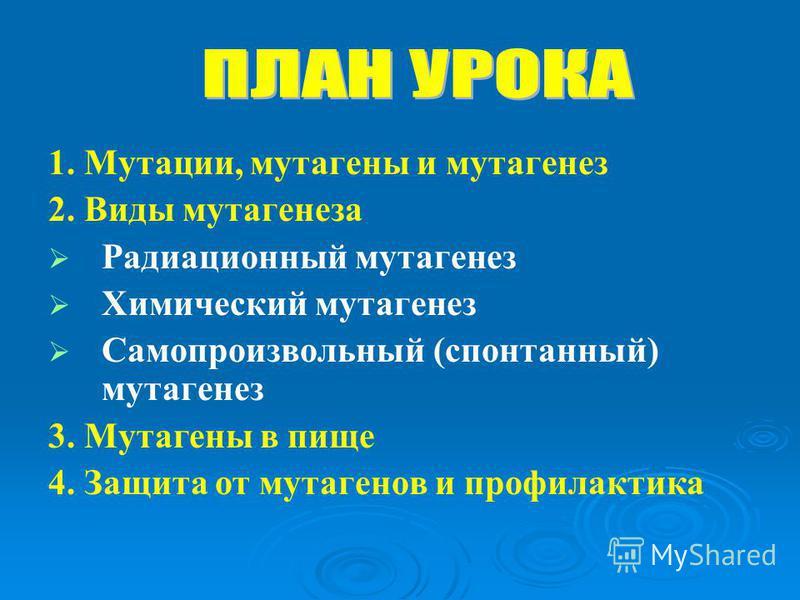 1. Мутации, мутагены и мутагенез 2. Виды мутагенеза Радиационный мутагенез Химический мутагенез Самопроизвольный (спонтанный) мутагенез 3. Мутагены в пище 4. Защита от мутагенов и профилактика