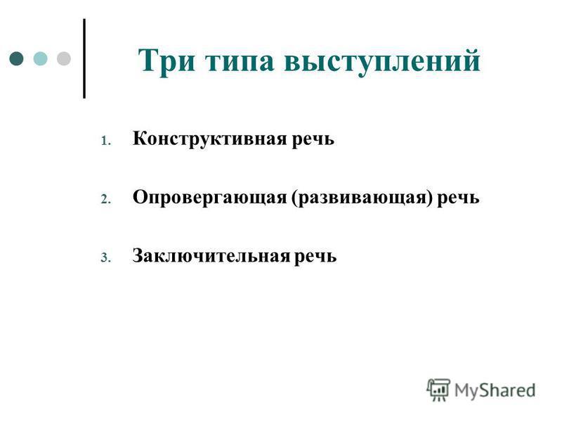 Три типа выступлений 1. Конструктивная речь 2. Опровергающая (развивающая) речь 3. Заключительная речь
