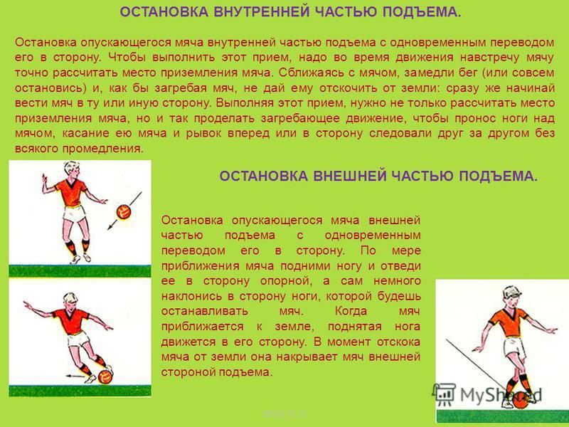 Рассчитай место приземления мяча и, согнув одну ногу, подними ее вверх примерно на уровень живота. Туловище отклони немного назад. Когда мяч коснется бедра, уступающим движением опусти ногу, оставляя ее согнутой. Мяч потеряет скорость и скатится к тв