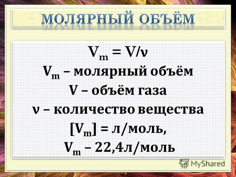 V m = V/ ν V m – молярный объём V – объём газа ν – количество вещества [V m ] = л/моль, V m – 22,4 л/моль V m = V/ ν V m – молярный объём V – объём газа ν – количество вещества [V m ] = л/моль, V m – 22,4 л/моль