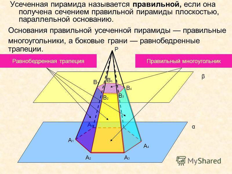 Усеченная пирамида называется правильной, если она получена сечением правильной пирамиды плоскостью, параллельной основанию. A1A1 α β A2A2 A3A3 AnAn A4A4 В1В1 В4В4 ВnВn P Основания правильной усеченной пирамиды правильные многоугольники, а боковые гр