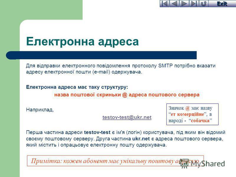 Exit Електронна адреса Для відправки електронного повідомлення протоколу SMTP потрібно вказати адресу електронної пошти (e-mail) одержувача. Електронна адреса має таку структуру: назва поштової скриньки @ адреса поштового сервера Наприклад, testov-te