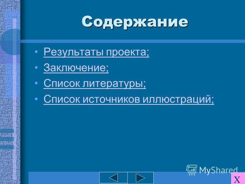 Содержание Результаты проекта; Заключение; Список литературы; Список источников иллюстраций; Х