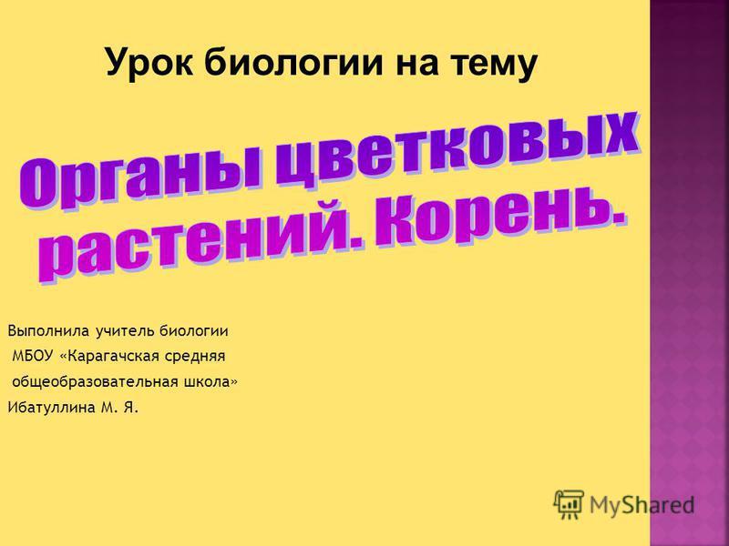 Выполнила учитель биологии МБОУ «Карагачская средняя общеобразовательная школа» Ибатуллина М. Я.