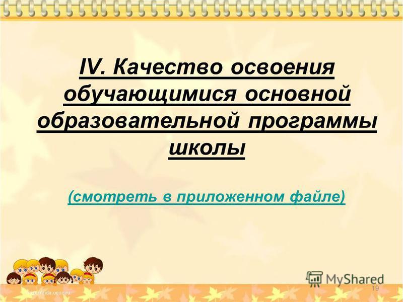 IV. Качество освоения обучающимися основной образовательной программы школы (смотреть в приложенном файле) (смотреть в приложенном файле) 19