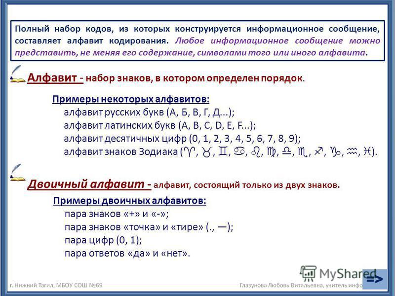Алфавит - набор знаков, в котором определен порядок. Двоичный алфавит - алфавит, состоящий только из двух знаков. Примеры некоторых алфавитов: алфавит русских букв (А, Б, В, Г, Д...); алфавит латинских букв (А, В, С, D, E, F...); алфавит десятичных ц