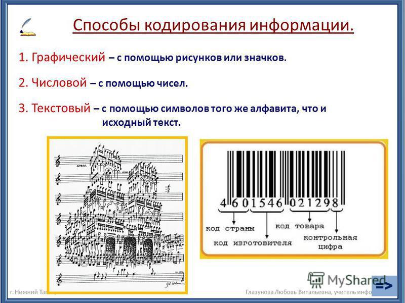 1. Графический – с помощью рисунков или значков. Способы кодирования информации. 2. Числовой – с помощью чисел. 3. Текстовый – с помощью символов того же алфавита, что и исходный текст. =>=>